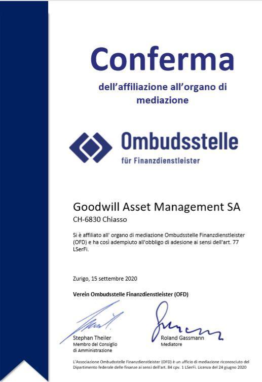 Conferma di affiliazione a OFD di Goodwill Asset Management SA